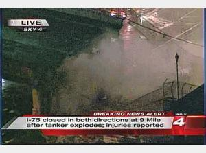 Tanker Explosion I-75 and 9 Mile Detroit bridge collapse